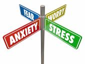 Anxiety Stress Fear Worry Signs Words 3d Illustration poster