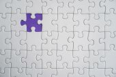 Missing Jigsaw Puzzle Pieces. Business Concept. Fragment Of A Folded White Jigsaw Puzzle And A Pile  poster
