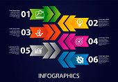 Dark Vector Illustration 3D. Infographic Template With Six Elements, Arrows, Text And Icons. Timelin poster