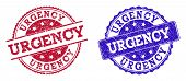 Grunge Urgency Seal Stamps In Blue And Red Colors. Stamps Have Distress Style. Vector Rubber Imitati poster