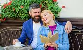 Man With Beard And Blonde Woman Cuddle On Romantic Date. Romance Concept. Love And Flirt. Common Int poster