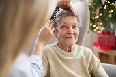 A Health Visitor Combing Hair Of Senior Woman At Home At Christmas Time. poster