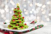 Healthy Dessert Idea For Kids Party - Funny Edible Kiwi Pomegranate Christmas Tree, Beautiful New Ye poster