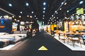 Blur, Defocused Background Of Public Exhibition Hall Holding Furniture Fair Event Or Business Trades poster