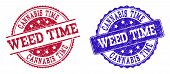 Grunge Weed Time Seal Stamps In Blue And Red Colors. Stamps Have Distress Texture. Vector Rubber Imi poster