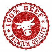 100 Beef Premium Quality Stamp Seal With Grunged Texture. Designed With Bull Head Symbol. Red Vector poster
