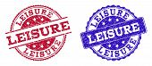 Grunge Leisure Seal Stamps In Blue And Red Colors. Stamps Have Distress Surface. Vector Rubber Imita poster