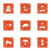 Army Icons Set. Grunge Set Of 9 Army Vector Icons For Web Isolated On White Background poster
