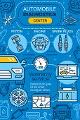 Car Service And Auto Mechanic Garage Repair Center, Vector. T Ire Fitting Or Automotive Maintenance  poster