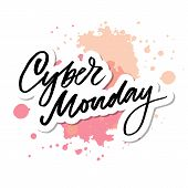 Vector Illustration Of Cyber Monday Text For Card Banner. Handwritten Calligraphy Cyber Monday Tag B poster