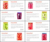 Preserved Fruits And Vegetables In Jars Online Banners Set. Canned Or Conserved Food Inside Glass Co poster