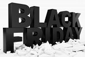 3d Illustration Black Friday, Sale Message For Shop. Business Shopping Store Banner For Black Friday poster