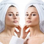 Portrait Of Young Woman In Bathrobe Before And After Retouch. Over White Background. poster