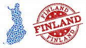 Compositions Of Blue Map Of Finland And Red Grunge Stamp Seal. Mosaic Map Of Finland Is Created With poster