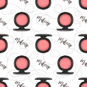Seamless Pattern, Handdrawn Color Sketch, Open Blushes, Makeup Droducts poster