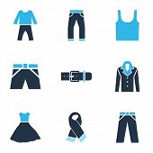 Clothes Icons Colored Set With Pyjamas, Scarf, Coat And Other Swimming Trunks Elements. Isolated  Il poster