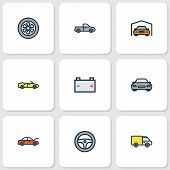 Automobile Icons Colored Line Set With Cabriolet, Steering Wheel, Battery And Other Accumulator Elem poster