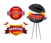 Party Barbecue Isolated Icons Set Vector. Shield With Ribbons And Flames, Roasted Sausages On Roaste poster