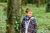 Happy And Trendy. Happy Child. Little Child Happy Smile In Forest. Little Boy Play On Fresh Air. Be  poster