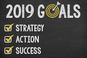 New Year 2019 Goals On Chalkboard New Year Concepts poster