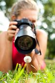 young girl taking picture of  dandelion in nature