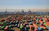 picture of container ship  - infinitely many containers in a cargo port on red sea - JPG