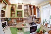 Green Kitchen interior with many utensils and window, fisheye View