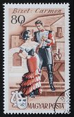 HUNGARY - CIRCA 1967: a stamp printed in Hungary shows an illustrated scene of  ?Carmen?, the famous french opera by Georges Bizet. Hungary, circa 1967