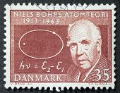 DENMARK - CIRCA 1963: a stamp printed in Denmark shows image of Niels Bohr, celebrating the fiftieth