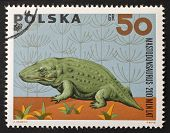 POLAND - CIRCA 1966: a stamp printed in Poland shows image of Mastodonsaurus, a Temnospondyl from th