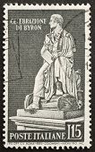 ITALY - CIRCA 1959: a stamp printed in Italy shows image of Lord Byron, the celebrated english poet. Italy, circa 1959