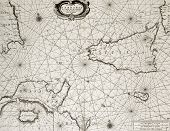Old maritime map of North Africa coast and South Mediterranean, around Sicily, Sardinia, Malta and C