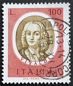 ITALY - CIRCA 1975: a stamp printed in Italy shows image of Antonio Lucio Vivaldi, the famous italia