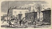 Antique illustration shows destruction of ancient surrounding walls in Paris. Original, after drawing of Hintz, was  published on