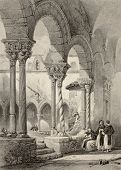 Cloister of San Domenico church in Palermo, Italy. Original by Leitch and La Reux. Published in