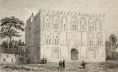 Antique illustration of the Zisa, arab castle in Palermo, Italy. Original engraving, Lemaitre direxi
