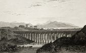 Old illustration of an aqueduct near Palermo, Italy. Original engraving was created by E. Dewint and