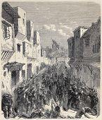 Ilustración antigua de tropas españolas en Tetuán. Original grabado de un diseño de gusanos