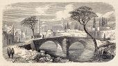 Antique illustration of a bridge in a public garden (meidan) in Tabriz, Persia. Original was engraved on design by E. Duhousset and was published on