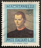 ITALY - CIRCA 1969: a stamp printed in Italy celebrates the fifth centenary of Nicol�² Machiavelli's birth, the famous italian political philosopher. Italy, circa 1969