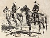French officer and Persian cavalier during French mission in Persia. Original, by drawing of E. Duho