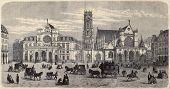 Antique illustration of Place du Louvre, with Mairie du 1er arrondissement, the belfry and Saint Germain l'Auxerrois. By Fichot. Published on