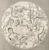 Antique illustration of  Celestial Planisphere (southern hemisphere) with constellations. Original e