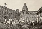 Antique illustration of Piazza Pretoria in Palermo, Italy. The original engraving, created by B. Rosaspina, may be dated to the first half of 19th c.