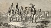 Old illustration of military drummers band of Italian Army. Drawn by Worms on painture of D. A. M. R