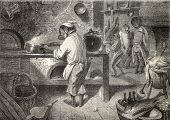 Surrealistic antique illustration of  kitchen with monkeys cooking. Original, from drawing of Janet-