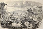 People reaching Florence from Tuscany to vote annexation to Italian State. Original, from drawing of Durand, after sketch of  Sanesi, published on L'Illustration, Journal Universel, Paris, 1860