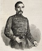 Old engraved portrait of General Manuel Gasset of Spanish army. Original, from drawing of Hofer after photo by unknown author, was published on L'Illustration, Journal Universel, Paris, 1860