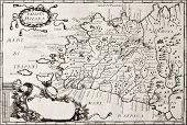 Old map of West Sicily. The original map is datable approximately between the end of 17th c. and the beginning of 18th c. and was created by Franciscus Cassianus Da Silva