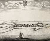 An antique illustration of Trapani, in the west Sicily. Te map may be approximately dated to the 17t